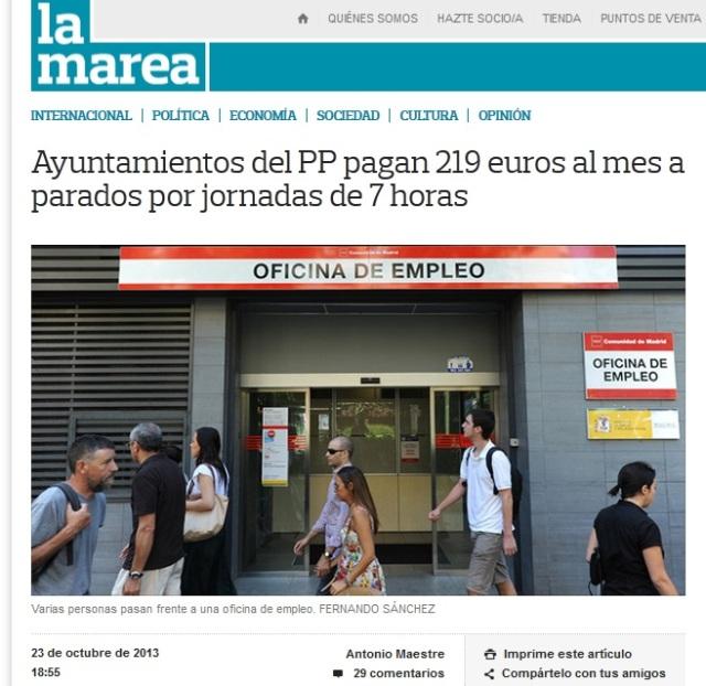 Ayuntamientos del PP pagan 219 euros al mes a parados por jornadas de 7 horas