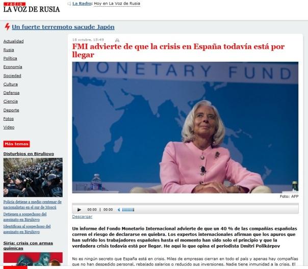 El FMI advierte de que la crisis en España todavía está por llegar