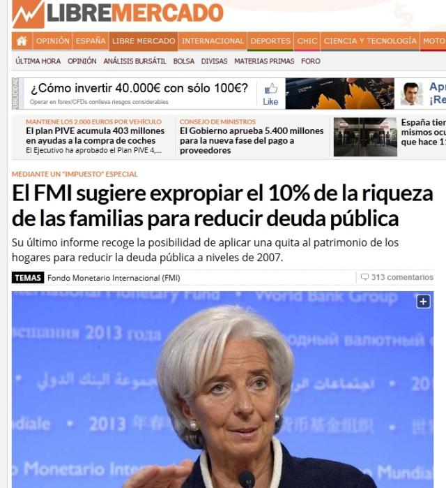 El FMI sugiere expropiar el 10% de la riqueza de las familias para reducir deuda pública