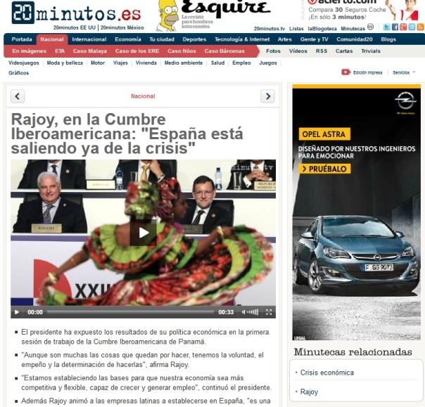 "Rajoy, en la Cumbre Iberoamericana: ""España está saliendo ya de la crisis"""